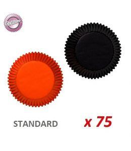 """Caissettes cupcakes """" Noir / Orange"""" x 75"""