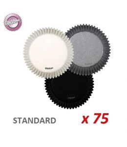 """Caissettes cupcakes """"Noir /Blanc/Argent"""" x 75"""