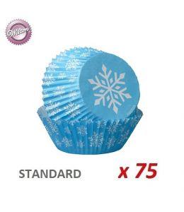 """Caissettes cupcakes """"Flocon bleu"""" x 75"""