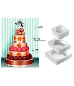 Set de 3 moules silicone pour gâteau à étages - ROND