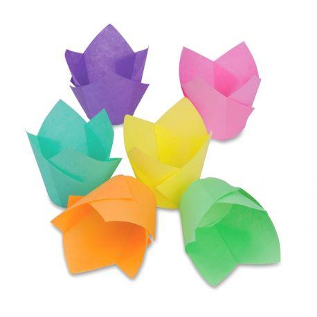 """Caissette """"tulipe"""" colorée x 12"""