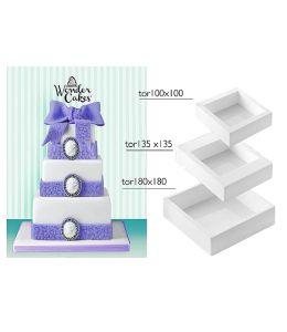 Set de 3 moules silicone pour gâteau à étages - CARRE
