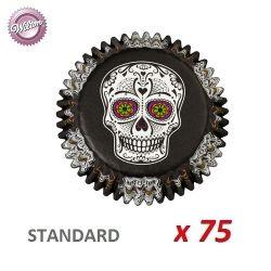 """Caissettes cupcakes """"Tête de Mort"""" x 75"""