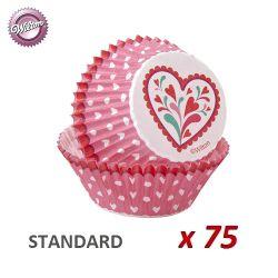 "Caissettes cupcakes ""Coeur Rose"" x 75"