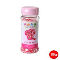 "Mini-perlas de azúcar ""Nonpareils"" - Rosa-Blanco-Rojo"