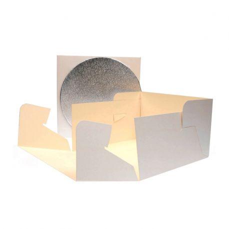 Boite pâtissière + carton rond - 25x25x15cm