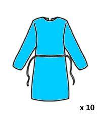 Blouse jetable PE bleue x 10