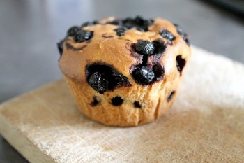 Muffin aux myrtilles ou « blueberry muffin »